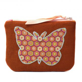 Porte-monnaie tissu lin marron papillon retro - Julie & COo
