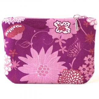 Porte-monnaie tissu grosses fleurs rose et doublure cercles rétro - Julie & COo