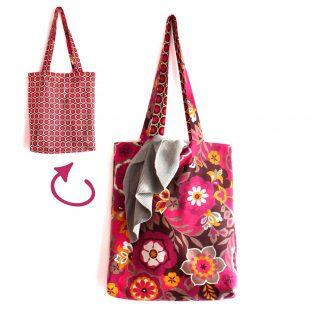 Tote bag réversible tissu fleur graphique rose fuchsia sac bibliothèque - Julie & COo