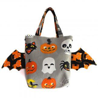Halloween sac friandises monstres ailes de chauve-souris panier enfant chat orange - Julie & COo