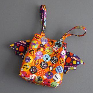 Sac à bonbons Halloween panier friandises tissu multicolore sac enfant fête coloré chauve-souris - Julie & COo