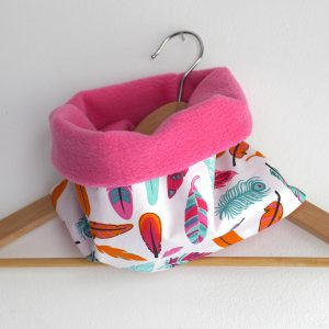 Snood plume boho enfant col polaire plume fille rose - Julie & COo