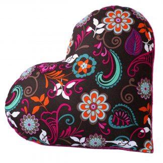 Coussin décoratif en forme de coeur tissu saint valentin cadeau fleurs marron rose fuchsia - Julie & COo