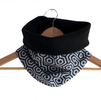 Snood mixte réversible hexagones motifs graphique gris et noir - Julie & COo