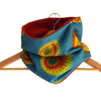 Snood large réversible tissu motifs wax fleur ethnique et polaire rouge brique - Julie & COo