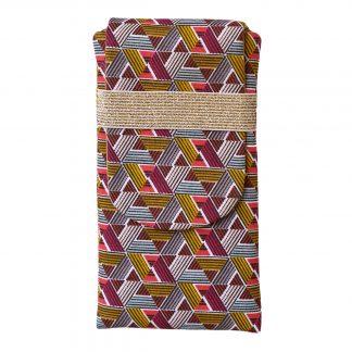 Pochette en tissu pour téléphone portable iphone 8 plus samsung s9+ motifs esprit wax graphique jaune curry rose fuchsia élastique doré or gold brillant doré - Julie & COo