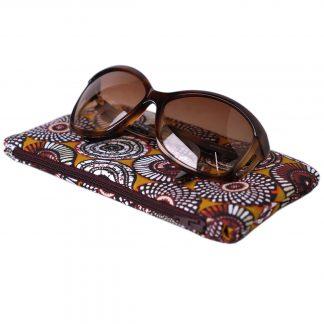 Étui à lunettes tissu ethnique motifs inspiration wax rosaces jaune curry - Julie & COo