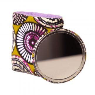 Miroir de poche wax rosace violet et vert cadeau fête des mères - Julie & COo