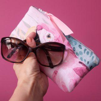 Étui lunettes tissu coton épais perroquet rose cactus tropical été pochette femme - Julie & COo
