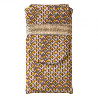 Housse tissu iPhone 8 plus samsung s9+ graphique hexagones jaune curry - Julie & COo