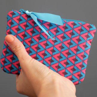 Porte monnaie en tissu fait main graphique losanges rose fuchsia bleu turquoise marron chocolat - Julie & COo