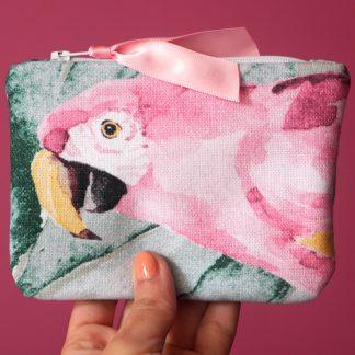 Porte-monnaie tissu coton épais perroquet rose cactus tropical été pochette femme - Julie & COo