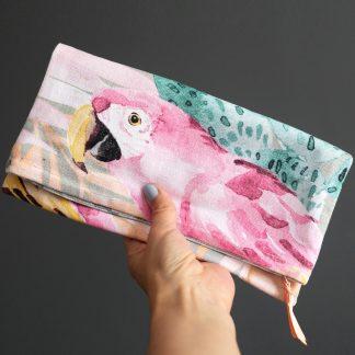 Pochette main pliée foldover clutch tissu coton épais perroquet rose cactus tropical été trousse maquillage fait main - Julie & COo
