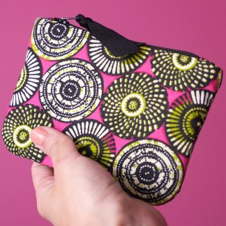 Porte-monnaie tissu ethnique motifs inspiration wax rose fuchsia vert anis pistache graphique éventail - Julie & COo