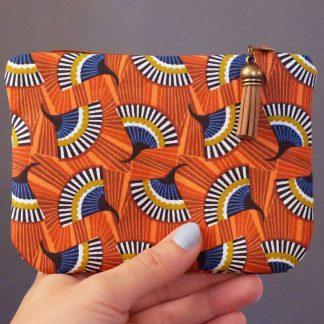 Porte-monnaie pochette tissu graphique ethnique inspiration wax éventail orange bleu pétrole fait main vert anis - Julie & COo
