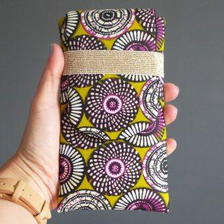 Étui téléphone portable pochette tissu iPhone 8 plus, Samsung s9+, iPhone X, sur mesure wax violet vert ethnique original - Julie & COo