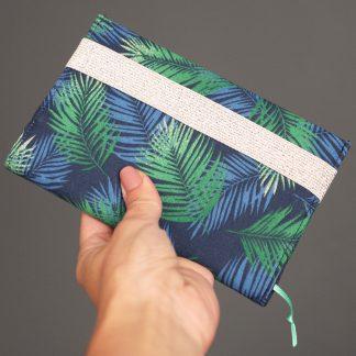 Protège-agenda en tissu fait main feuilles tropicales fougères bleu vert rentrée des classes - Julie & COo
