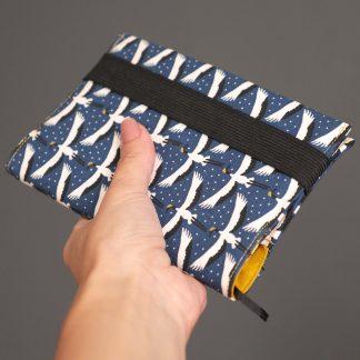 Organiseur de poche et couverture en tissu agenda semainier 2018-2019 grues du japon bleu blanc jaune curry - Julie & COo