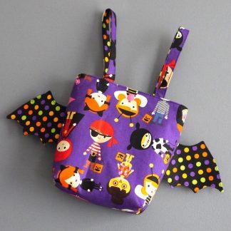 Panier Halloween fille princesse fée sorcière déguisement tissu violet multicolore pois handmade original unique - Julie & COo