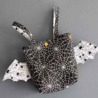 Panier halloween sac à bonbons en tissus phosphorescent fête enfant déguisement fait main original toile araignée chauve-souris - Julie & COo
