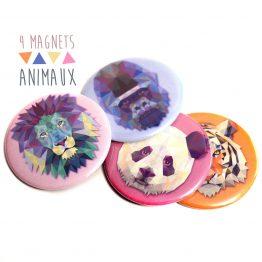 Magnets animaux lion, tigre, gorille et panda - Julie & COo