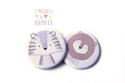 Magnets animaux sauvage tigre et lion - Julie & COo