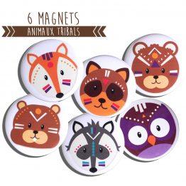Magnets animaux tribals forêt indien renard loup hibou chouette écureuil ours - Julie & COo