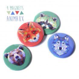 Magnet animaux colorés loup renard raton laveur ours - Julie & COo