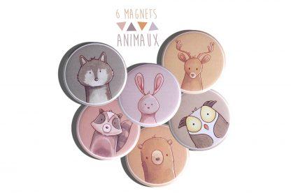 Aimant magnet animal de la forêt loup lapin cerf hibou raton laveur ours - Julie & COo