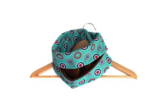 Snood écharpe réversible pop polaire marron et tissu graphique bleu turquoise - Julie & COo