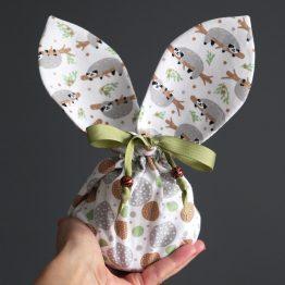 Pochon lapin de Pâques réversible tissu enfant paresseux gris bulles garçon chasse aux oeufs panier chocolat - Julie & COo