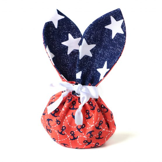 Sac pochon lapin tissu motifs marins et étoiles - Julie & COo