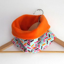 Snood chevrons graphique multicolore tissu et polaire orange - Julie & COo