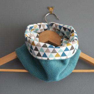 Snood enfant graphique garçon triangles polaire bleu pétrole turquoise foncé réversible mode hiver ski - Julie & COo
