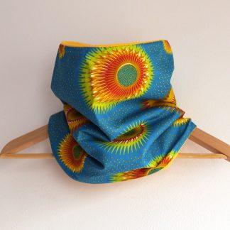 Snood large réversible tissu motifs wax fleur ethnique et polaire jaune soleil - Julie & COo