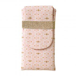 Housse samsung s9+ tissu femme rose poudré or géométrique losange iphone 8 plus pois doré - Julie & COo