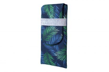 Housse iphone 8 plus tissu tropical feuilles de palmier bleu marine vert élastique argenté - Julie & COo