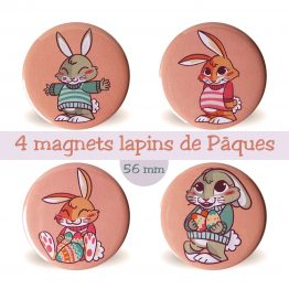 Lot de 4 magnets aimants décoratif lapin de Pâques - Julie & COo