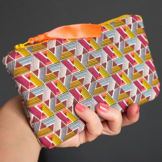 Étui à lunettes ethnique graphique tissu inspiration wax multicolore jaune curry corail pochette femme saint valentin - Julie & COo