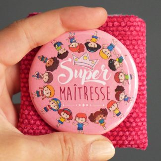 Cadeau maîtresse merci maitresse super maitresse miroir de poche rond étui protection remerciements original rose - Julie & COo