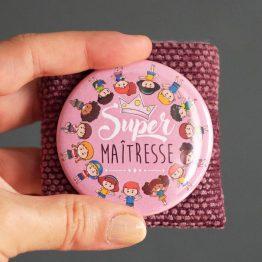 Merci maîtresse cadeau fin d'année scolaire super maitresse enfant original miroir de poche personnalisable violet étui velours polaire -Julie & COo