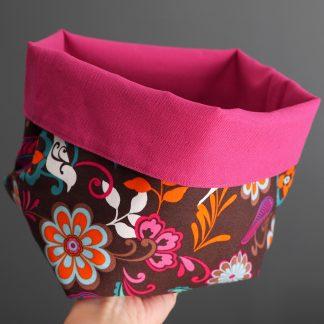 Panière taille L rangement tissu réversible salle de bain fleurs marron multicolore toile rose fuchsia cadeau décoration maison - Julie & COo