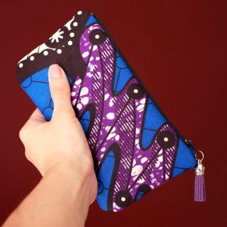 Pochette real wax abidjan afrique tissu africain bleu violet vagues étui lunettes vacances été - Julie & COo