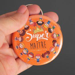 Porte-clés décapsuleur ouvre bouteille cadeau maître d'école original personnalisé coloré orange super merci - Julie & COo