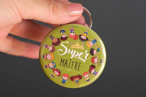 Porte-clés décapsuleur ouvre bouteille cadeau maître d'école original personnalisé coloré vert super merci - Julie & COo