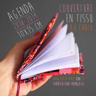 Agenda rentrée 2018-2019 scolaire et protège-agenda unique en tissu à personnaliser fabrication française - Julie & COo