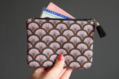Porte-monnaie tissu handmade écailles japonaise rose orange noir graphique pochette zippée femme sac petite trousse - Julie & COo