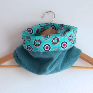 Snood tour de cou handmade polaire écharpe réversible pop turquoise foncé et tissu graphique - Julie & COo