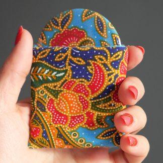 Miroir de poche tissu batik fleurs orange rouge bleu turquoise rond 56mm cadeau femme Noël maquillage beauté - Julie & COo