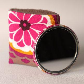 MIroir de poche rond tissu handmade fleur rose fuchsia marron taupe accessoire cadeau femme - Julie & COo